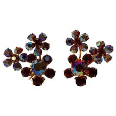 Austria red aurora borealis rhinestone clip earrings