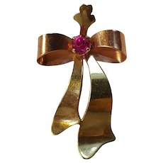 10K Gold ribbon bow pendant Esemco Shiman Brothers simulated ruby