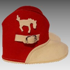 Baby Cowboy cowgirl boot booties felt red white horse buckle