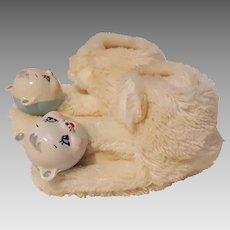 Kreuger Goody Toy Shoe baby slippers white fur rattle head hard plastic animal