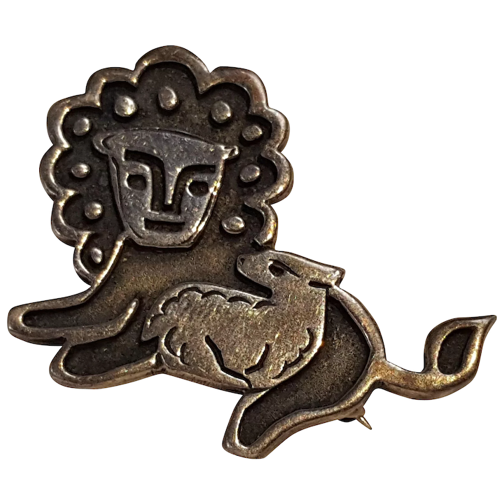 76ab8fce7f4 Rare James Avery sterling silver lion and the lamb pin retired design :  Green-Mannequin | Ruby Lane