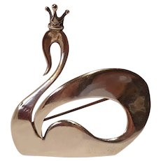 Kurt Eric Christoffersen for International sterling swan pin  Mid Century Modern