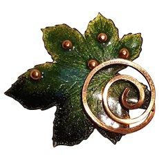 Matisse Renoir enamel on copper maple leaf pin green