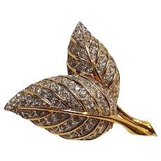 Jomaz rhinestone pin double leaf leaves