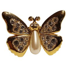 Swarovski butterfly pin with simulated pearl body