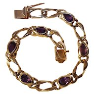 14K Gold amethyst bracelet 13.5 grams Makers mark N