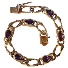 14K Gold amethyst bracelet 13.5 grams Makers mark N