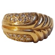 14K Gold pave diamond ring scalloped fern 9.5 grams