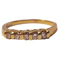 14K Gold five diamond stackable band ring 3 grams
