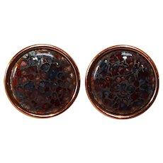 Renoir Matisse copper enamel clip earrings multi color round