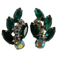 Rhinestone clip earrings green navette and blue ab