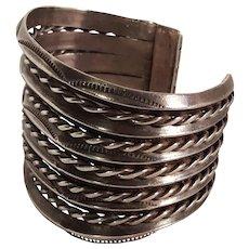Navajo sterling silver cuff bracelet eleven rows 95.5 grams