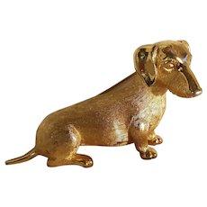 Trifari Dachshund  figural dog pin brushed gold finish