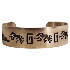 Hopi sterling silver overlay cuff bracelet Kokopelli