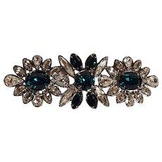 Swarovski signed brooch pin green navette crystal rhinestones