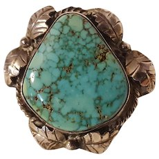 Southwest sterling silver turquoise ring leaf blossom