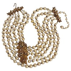 Jonne by Schrager dog collar six strand simulated pearl bead necklace rhinestone applique