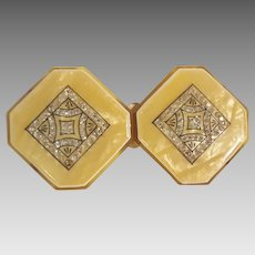 Art Deco celluloid rhinestone  buckle with pearlized lucite overlay