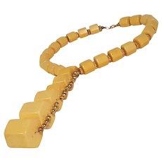 Castlecliff Bakelite necklace hexagonal cylinder beads butterscotch
