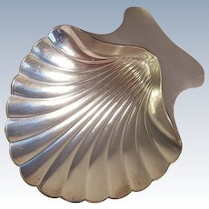 Tiffany & Co Makers sterling silver scallop shell dish