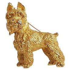 Trifari Schnauzer dog pin figural gold tone
