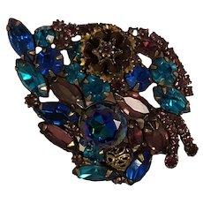 Hattie Carnegie rhinestone leaf pin blue watermelon stones metal flower