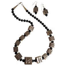 Larry Curley Navajo onyx sterling silver stamped box necklace earrings set