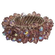 Lavender iridescent crystal expansion bracelet 1950's Japan