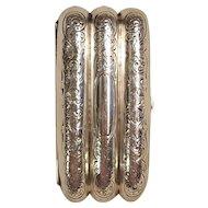 Sterling silver cigar case three compartments swirl leaf design