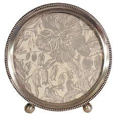 """Webster sterling silver round picture frame blue velvet easel 3 1/2"""""""