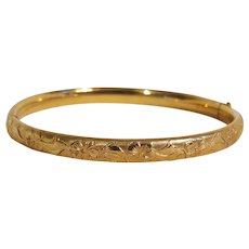 Kiddie Kraft hinged bangle bracelet gold filled embossed child size