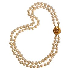 Trifari simulated pearl bead necklace rose clasp two strand