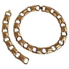 Givenchy bracelet necklace set brushed gold finish