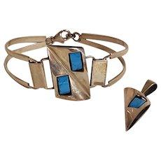 Sterling silver bracelet pendant set Modernist design