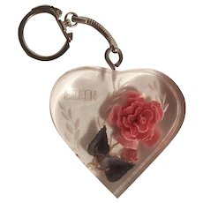 Reverse carved painted lucite rose key chain heart Eileen