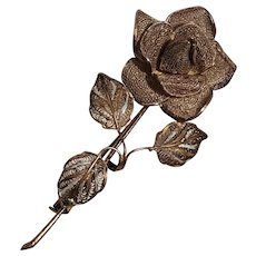 800 Silver filigree rose pin trombone clasp
