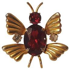 Sterling silver vermeil butterfly fur clip red rhinestone