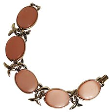 Coro pink moonglow lucite insert bracelet articulated