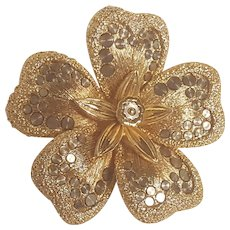 Orena Paris brooch flower head with silver tone  spots