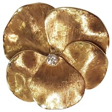 14K Gold diamond Pansy pin Engel Bros of New York