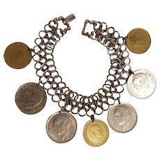 Goldette charm bracelet  coin charms Morocco Dirham Peseta Spain