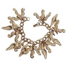 Seahorse shell charm bracelet white wash finish