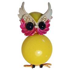 Art owl pin yellow belly pink enamel Modeart