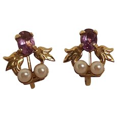 14K Gold amethyst pearl earrings screw back crown and ribbon makers mark