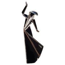 Trifari origami dancing lady pin black enamel