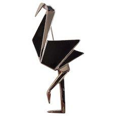 Trifari origami crane pin black enamel Modern