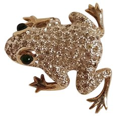 Panetta frog pin pave rhinestone glass cabochon eyes