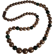 Taxco Sterling silver bench bead malachite necklace