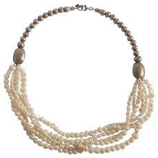 Silpada sterling silver bead freshwater pearl necklace retired N15US