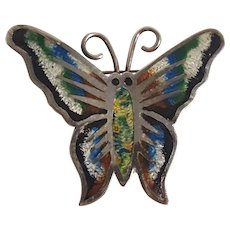 Taxco sterling silver enamel butterfly pin Jeronimo Fuentes